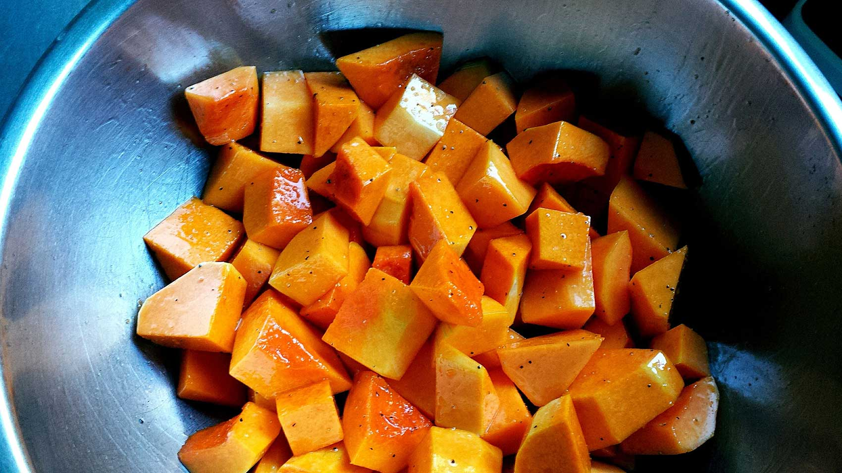Butternut squash cut up for cooking