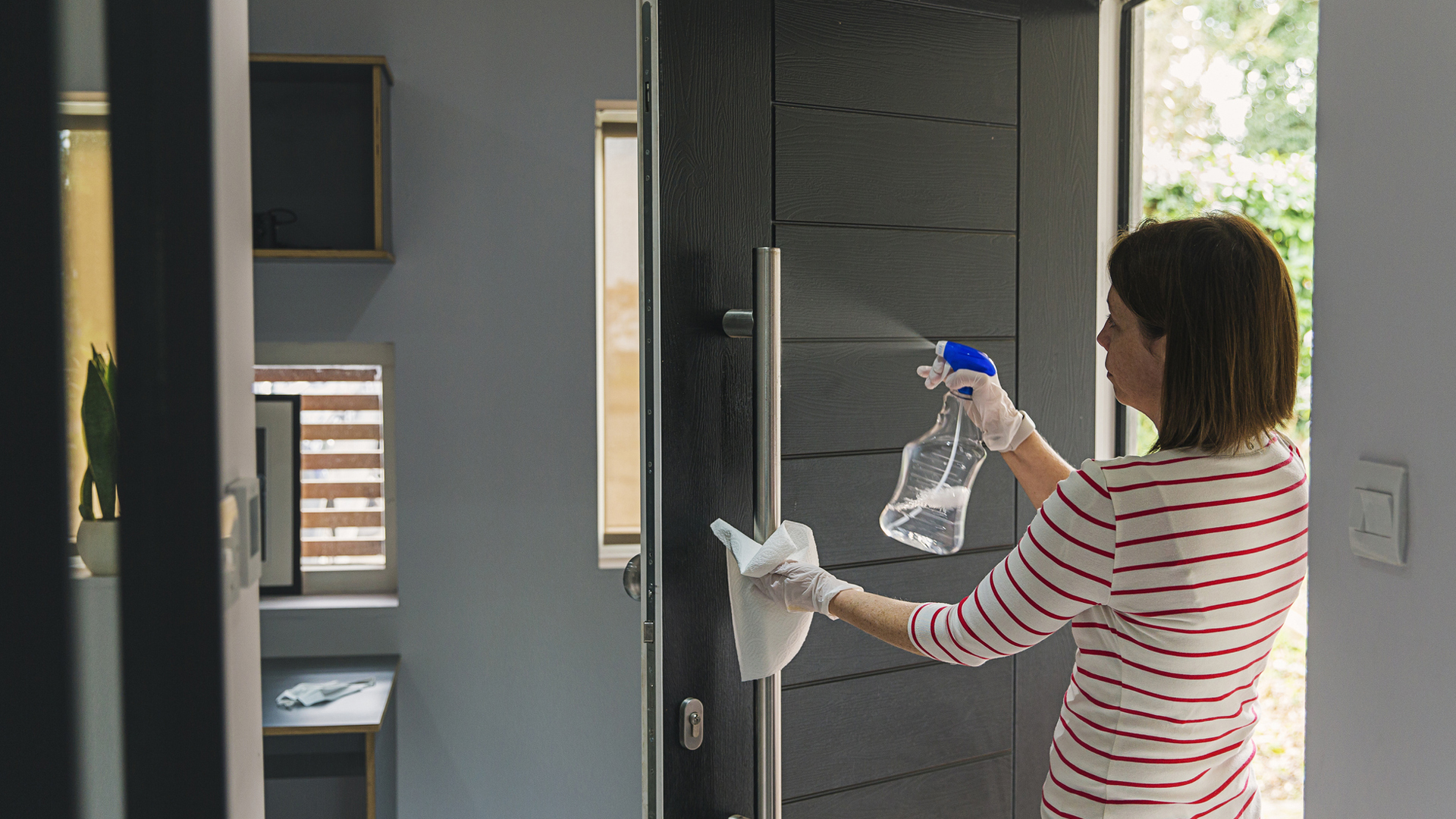 cleaning the front door