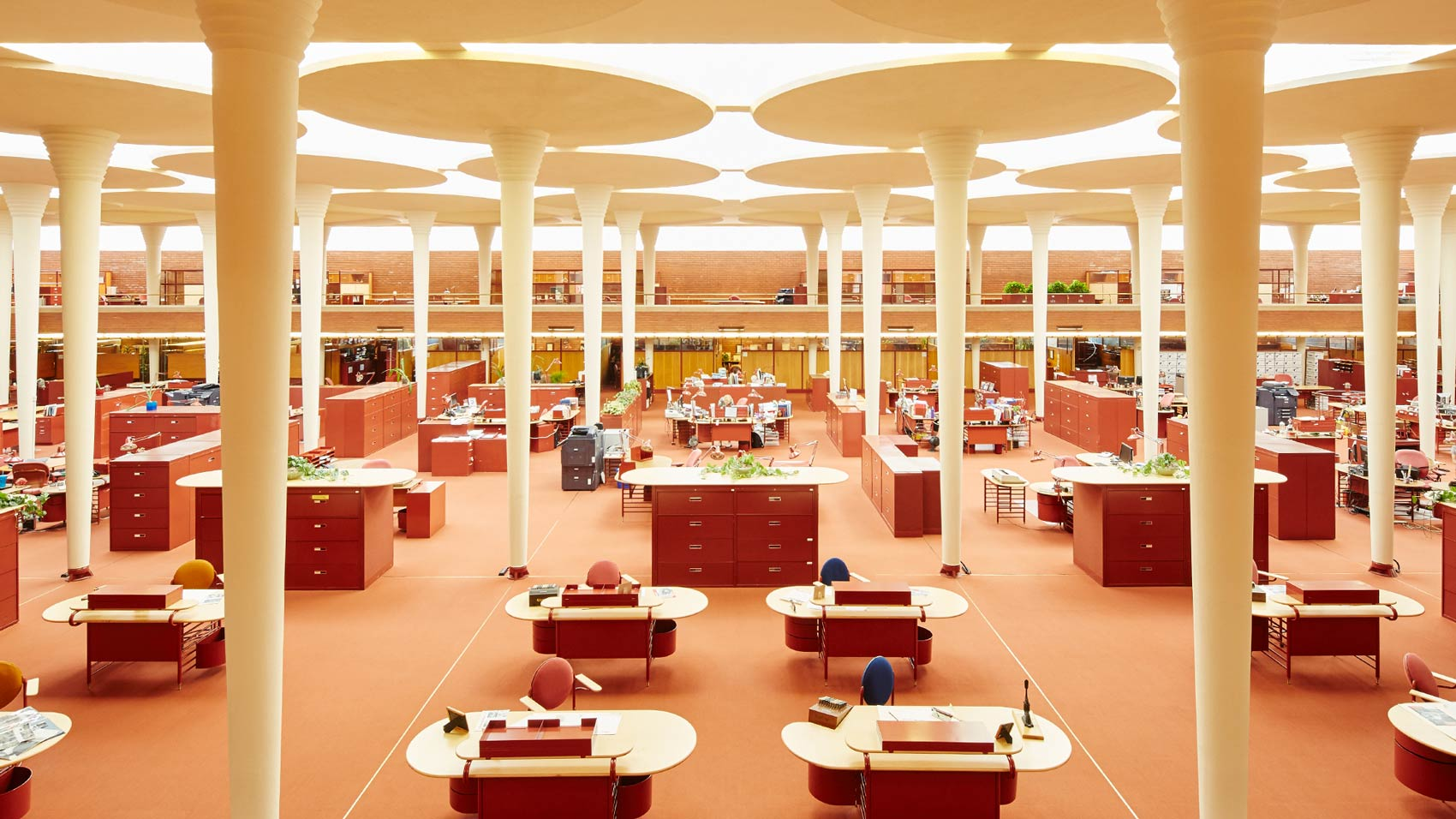 The Great Workroom in SC Johnson Frank Lloyd Wright-designed Administration Building