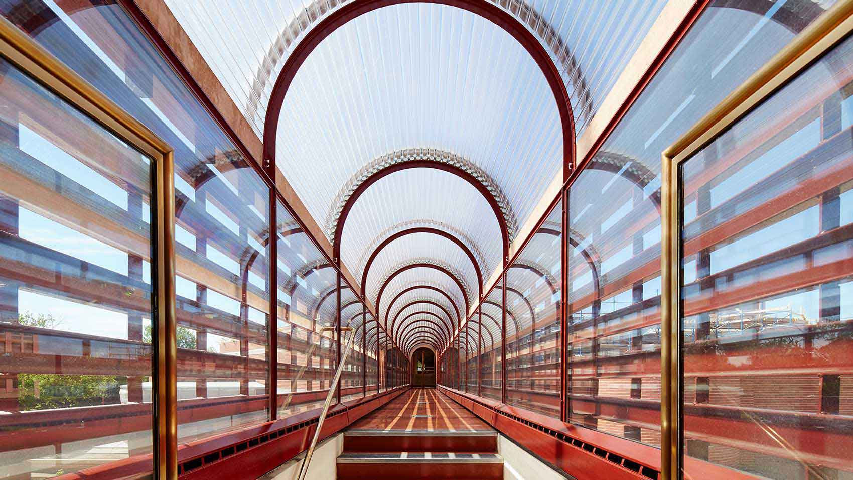 Frank Lloyd Wright designed catwalk on SC Johnson global headquarters campus