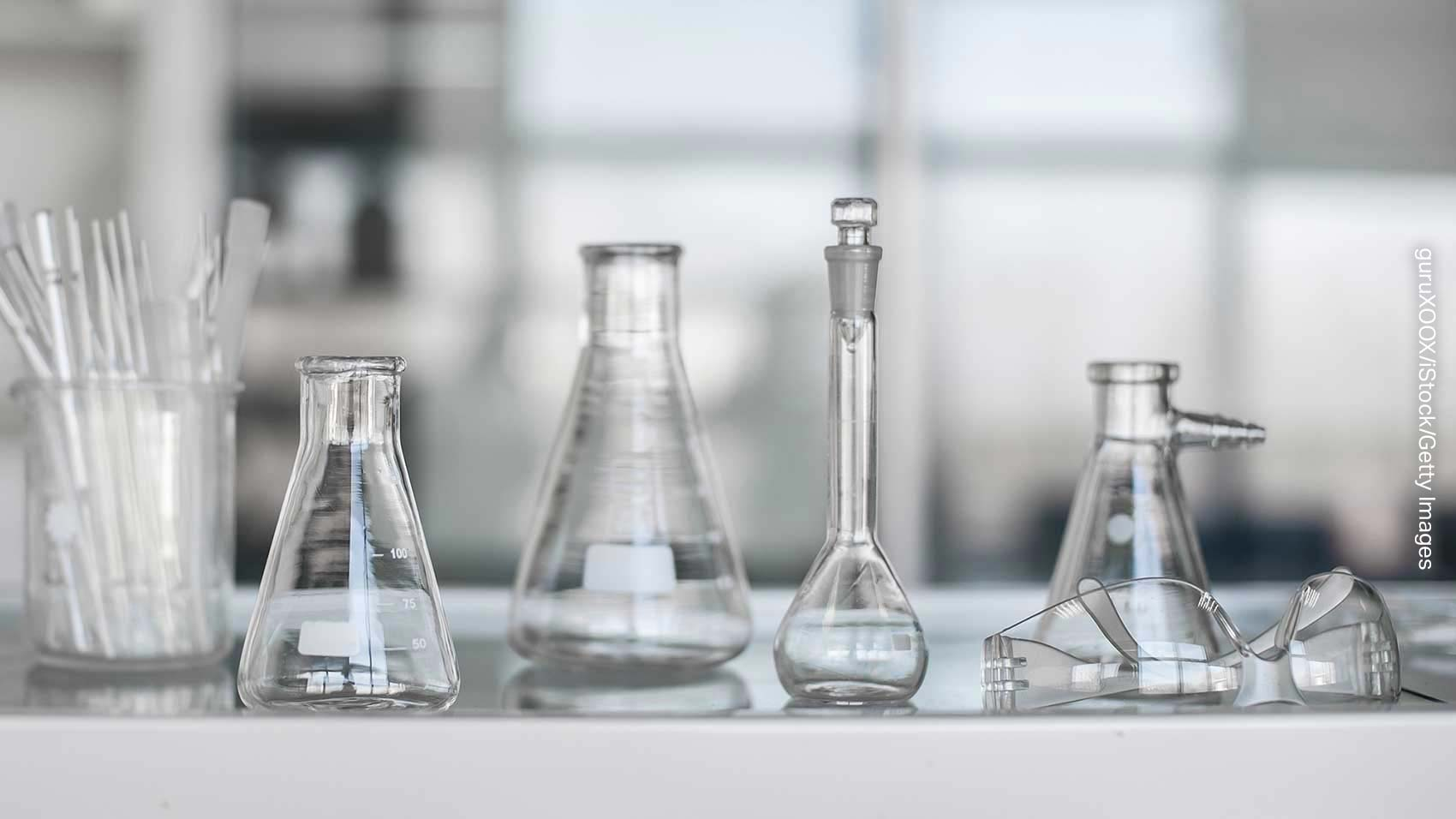 Transparent beakers for chemicals in a lab