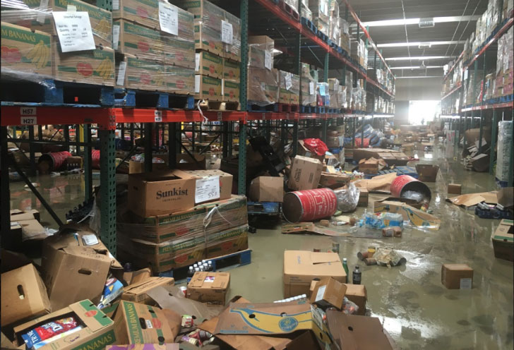 Damage in a warehouse following flooding in the Baton Rouge area