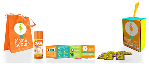 Pregnancy support kit for which SC Johnson donated personal mosquito repellents