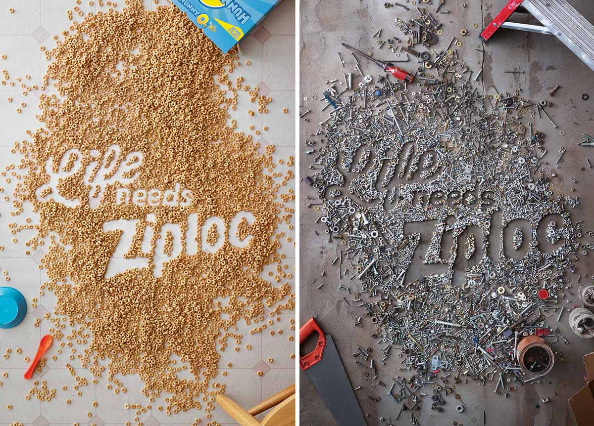 SC Johnson's Ziploc brand negative space posters that won a Cannes Bronze Lion award