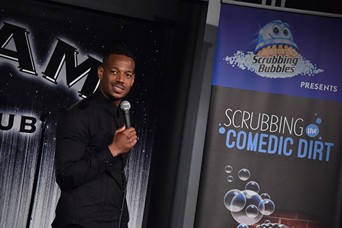 Marlon Wayans hosts the Scrubbing the Comedic Dirt comedy show for  Scrubbing Bubbles® in New York City