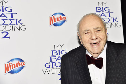 Actor Michael Constantine poses for photos and walks the  Windex® blue carpet at the premiere of My Big Fat Greek Wedding 2
