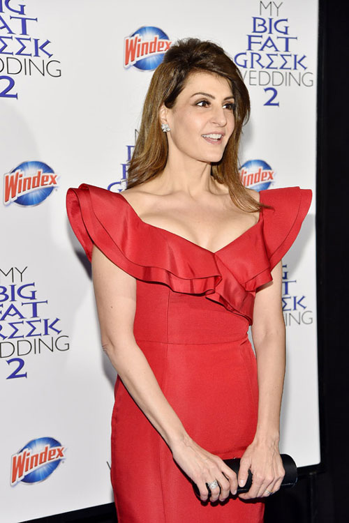 Actress and director Nia Vardalos arrives at the premiere of My Big Fat Greek Wedding 2, sponsored by Windex®