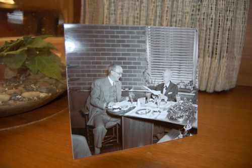A historical photo of H.F. Johnson, Jr. and Frank Lloyd Wright at SC Johnson