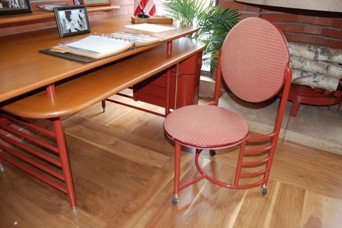 The original Frank Lloyd Wright-designed desk in the SC Johnson office of H.F. Johnson, Jr.