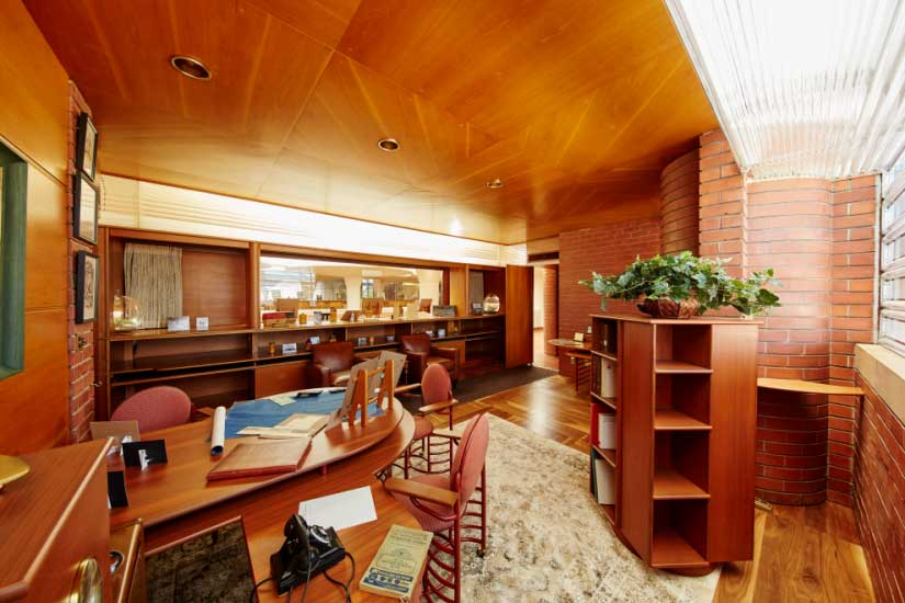 A view of H.F. Johnson, Jr.'s Frank Lloyd Wright-designed office at SC Johnson
