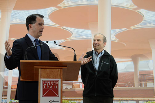 Wisconsin Governor Scott Walker and Fisk Johnson, Chairman and CEO of SC Johnson, at the Frank Lloyd Wright Trail dedication