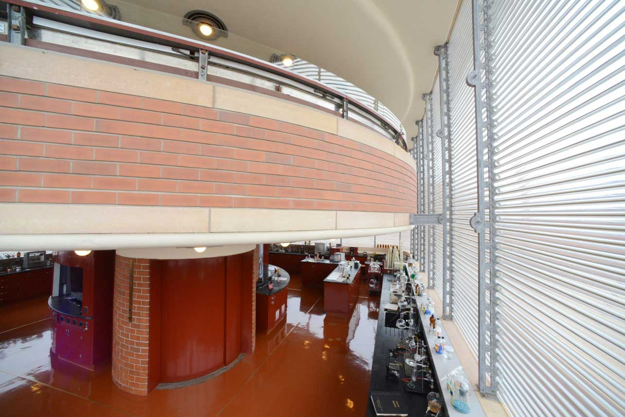 One of the round mezzanine levels of the SC Johnson Research Tower designed by Frank Lloyd Wright