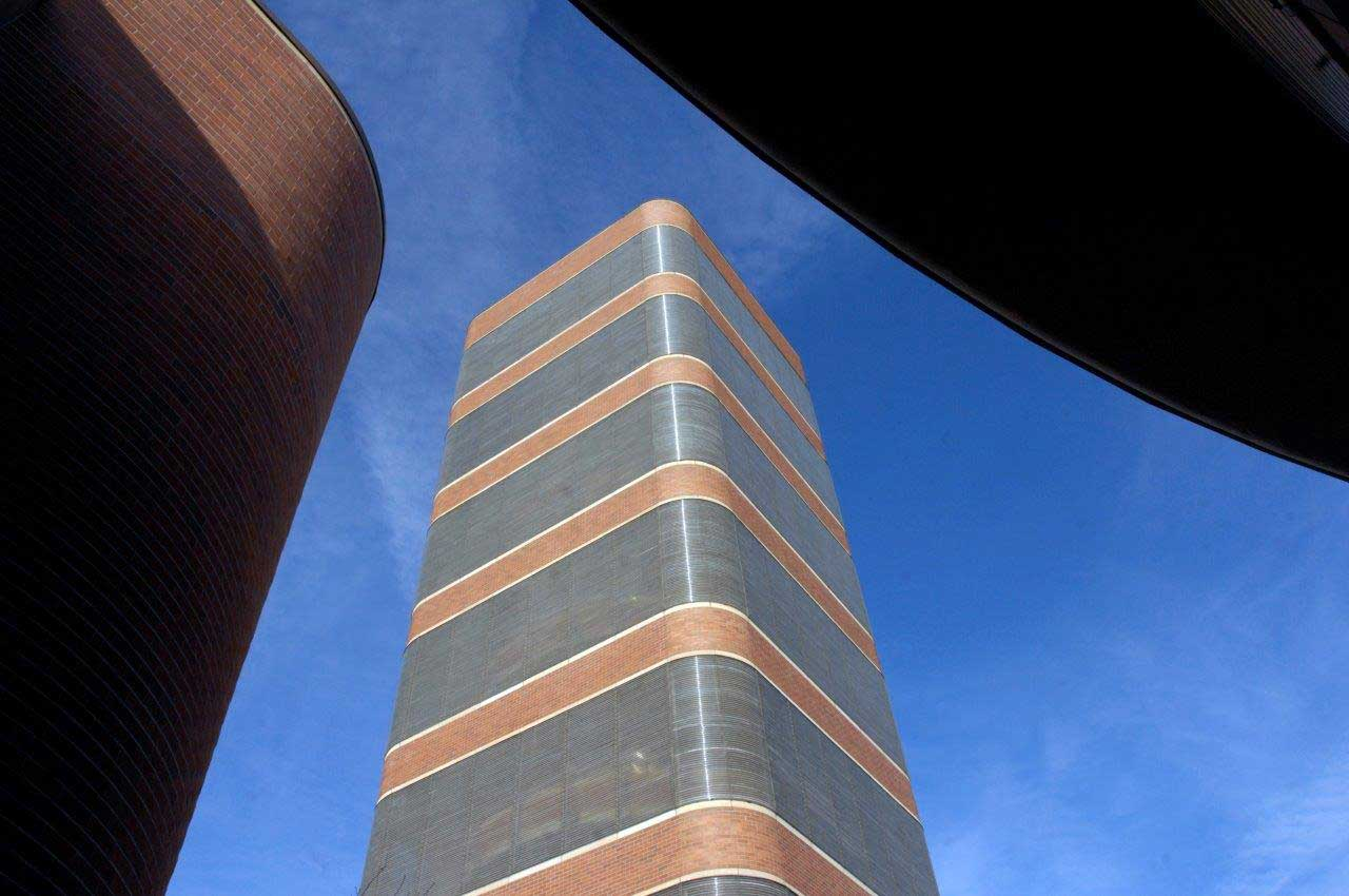 An upward view of the SC Johnson Research Tower designed by Frank Lloyd Wright