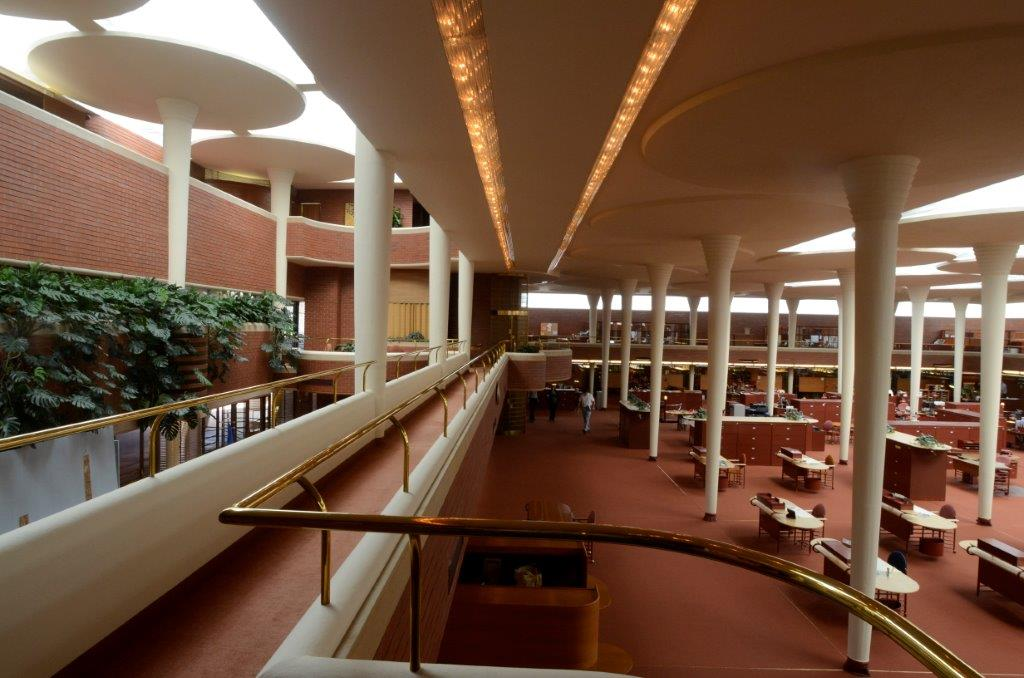 The mezzanine walkway of the SC Johnson Administration Building designed by Frank Lloyd Wright