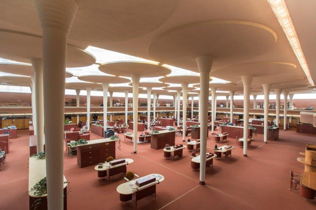 The Frank Lloyd Wright-designed Great Workroom at SC Johnson