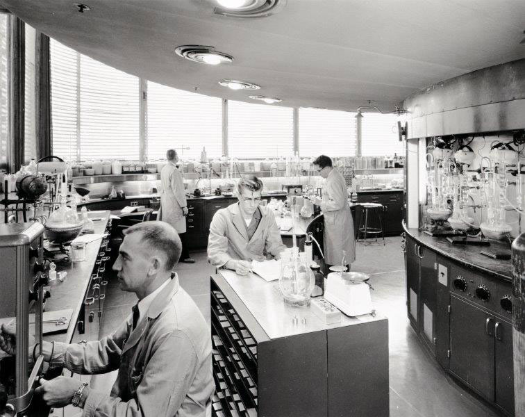 Scientists working in the SC Johnson Research Tower designed by Frank Lloyd Wright