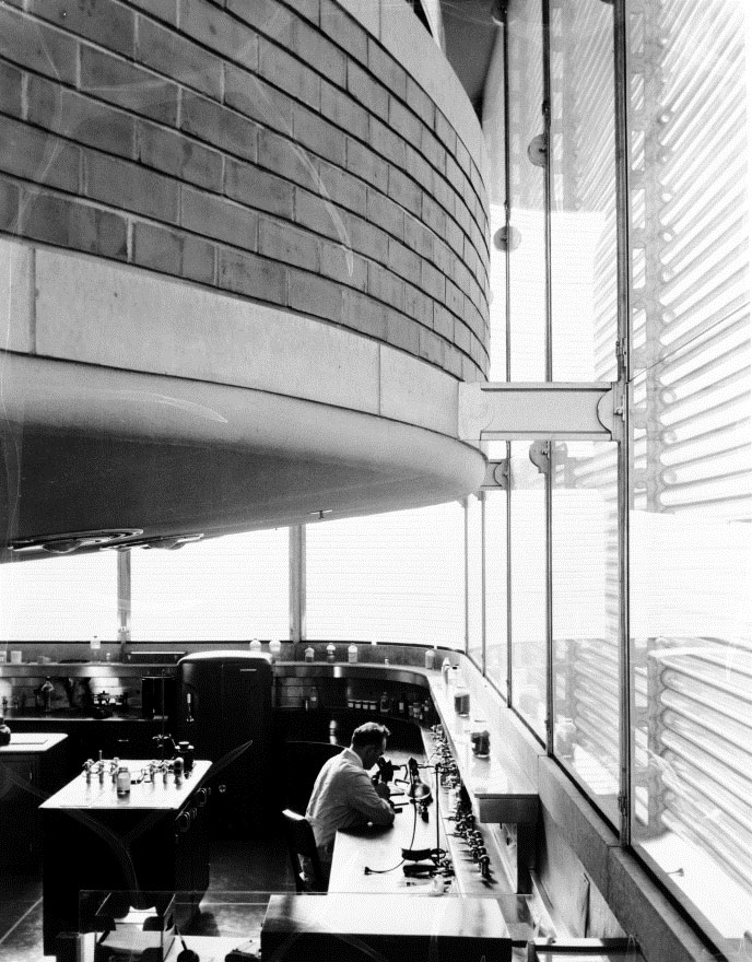 View of the Pyrex glass tube windows of the SC Johnson Research Tower designed by Frank Lloyd Wright