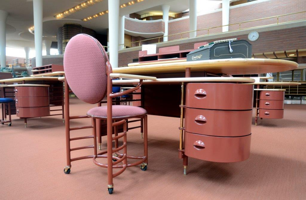 A Frank Lloyd Wright-designed desk in the SC Johnson Administration Building