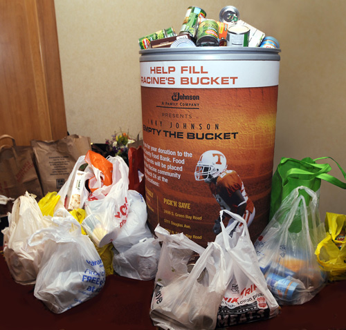 Donations to the SC Johnson Empty the Bucket food drive