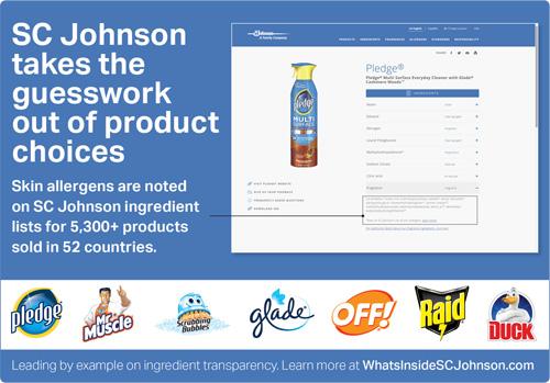 Infographic about SC Johnson skin allergen ingredient transparency