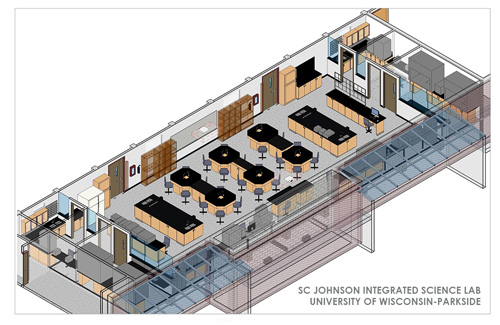 A rendering of the SC Johnson Integrated Science Lab at University of Wisconsin-Parkside