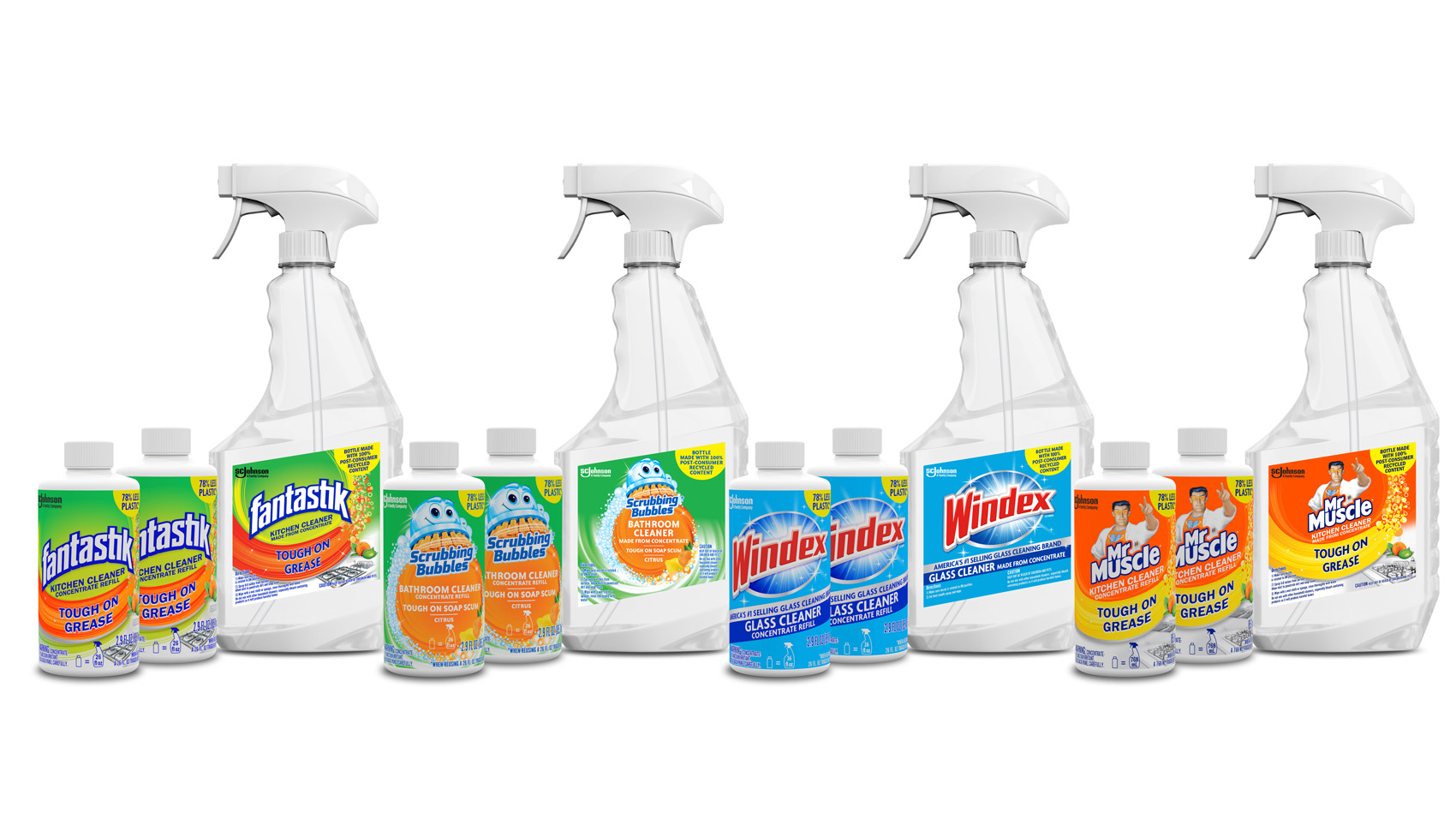 sc johnson concentrate cleaners for windex, scrubbing bubbles, fantastik and mr muscle