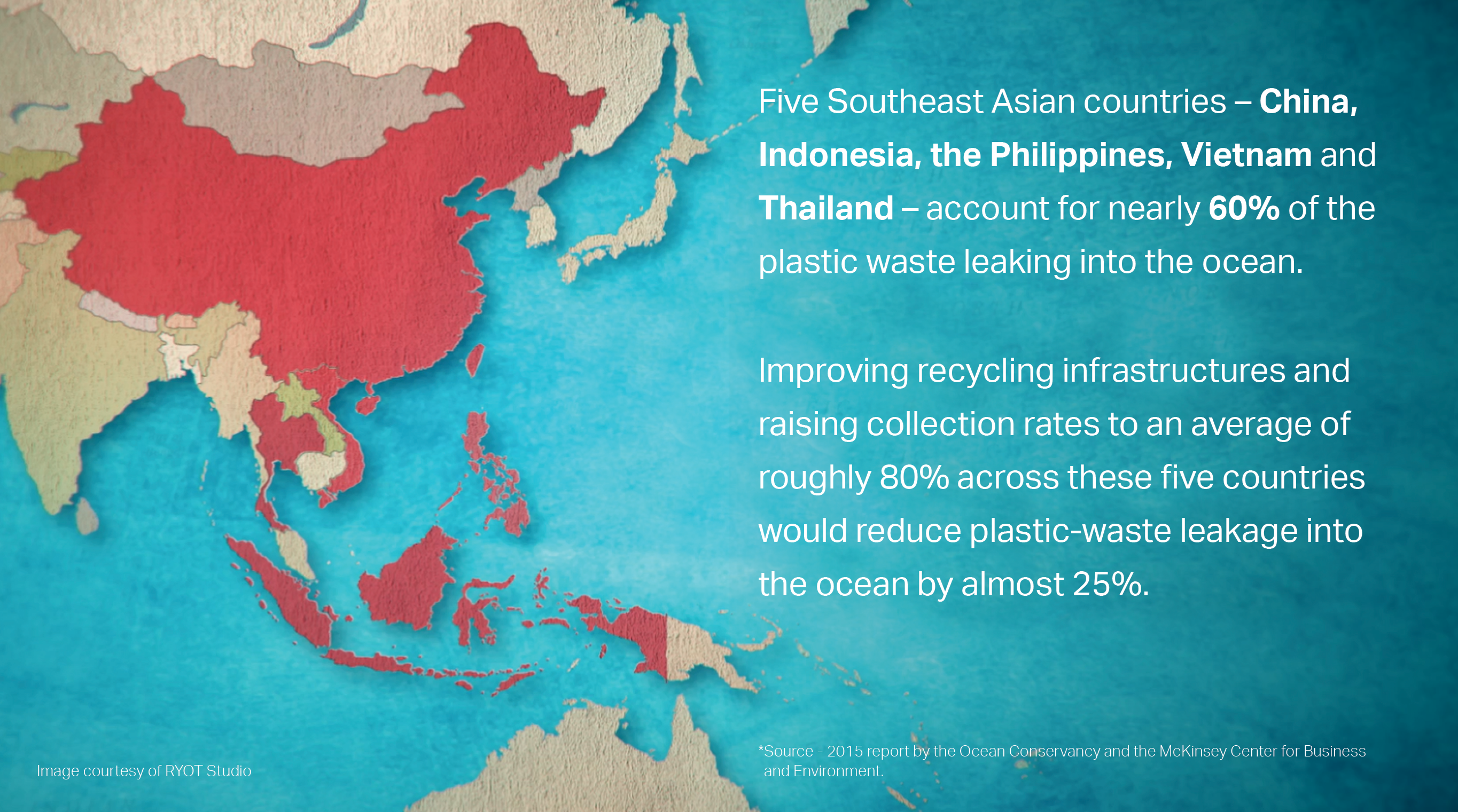 Improving recycling infrastructures is key to keeping plastic out of the ocean.