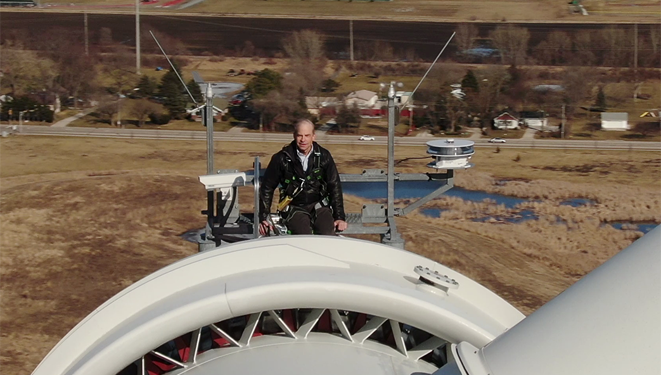 Fisk Johnson at the top of a turbine at SCJ head quarters in Racine Wisconsin