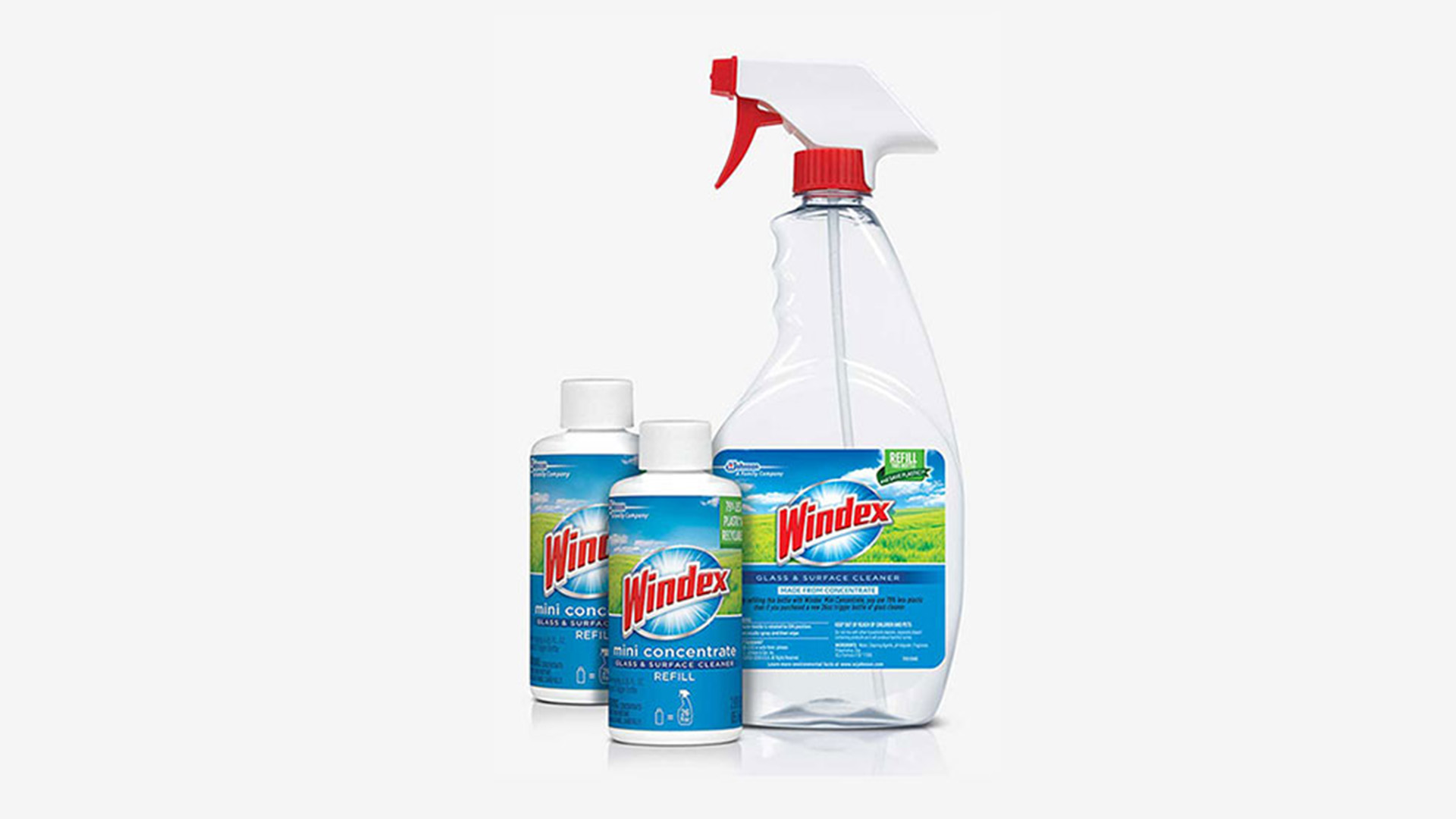 Concentrated refills enable reuse of home cleaning trigger spray bottles.