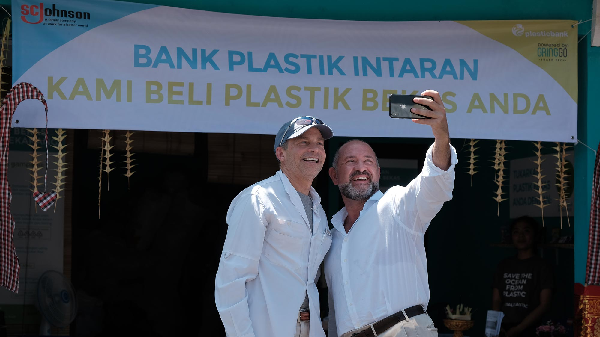 Fisk Johnson with David Katz at Plastic Bank recycling center opening