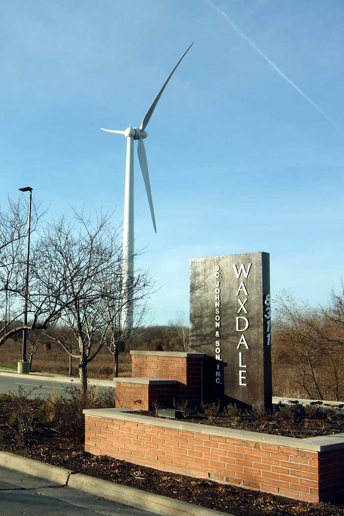 Waxdale 制造工厂的庄臣风力发电涡轮机