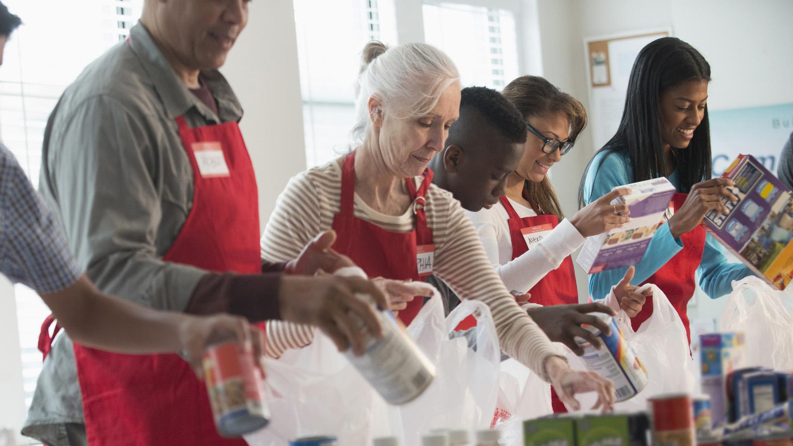 People Volunteering at a food bank