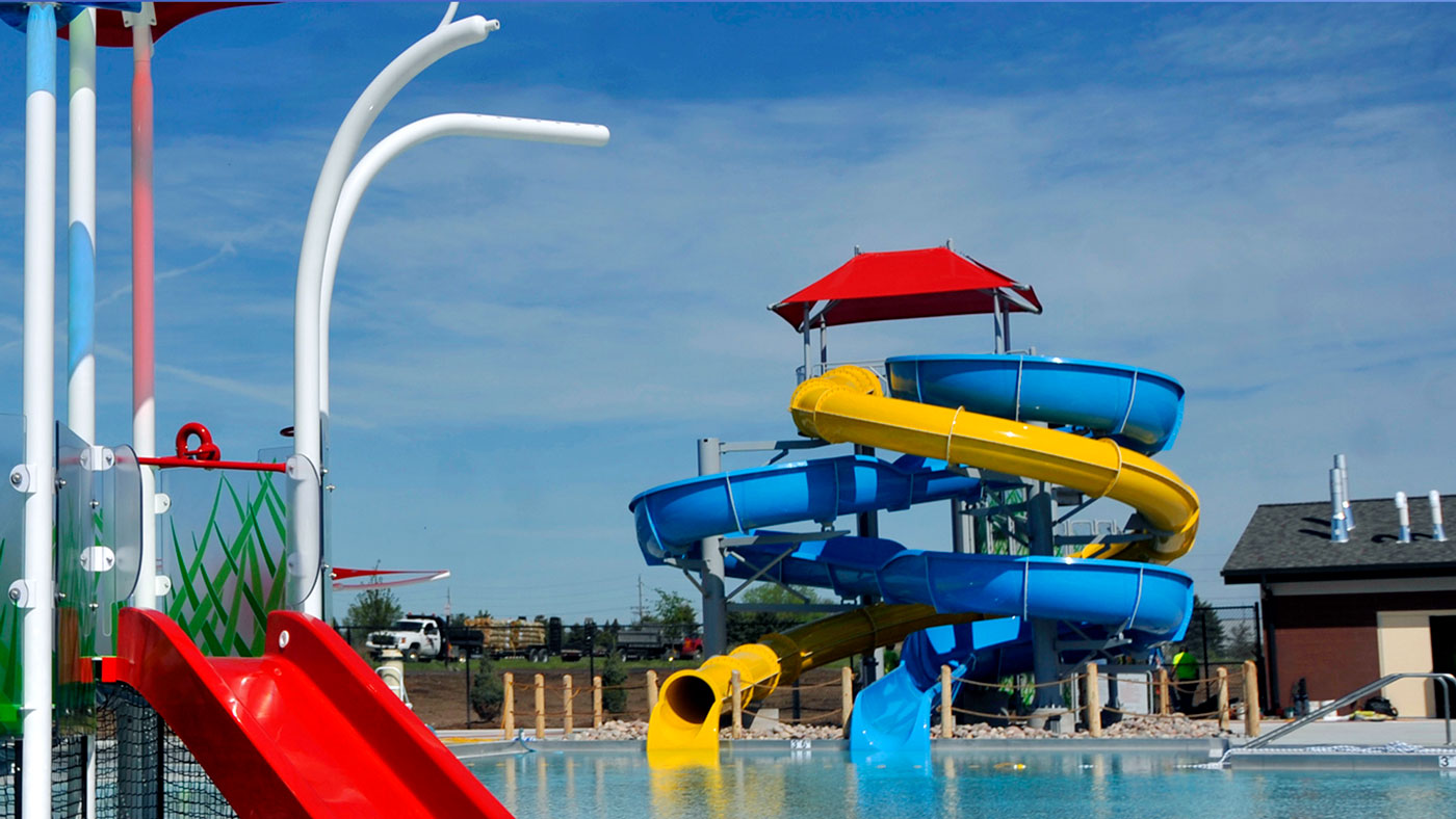 A water play structure at the SC Johnson Community Aquatic Center
