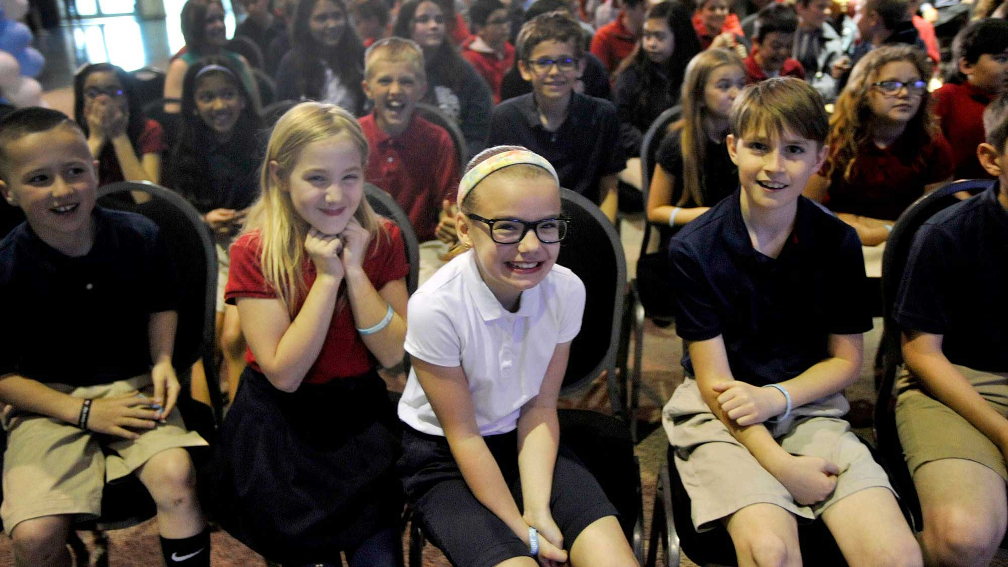 "Students at the SC Johnson celebration of the ""Racine Wonders"" program"
