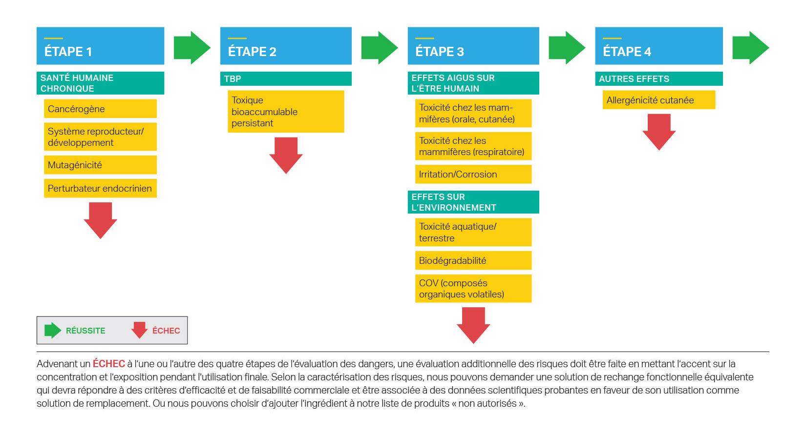 L'évaluation des risques à laquelle les ingrédients des produits de SC Johnson sont soumis comprend quatre étapes.