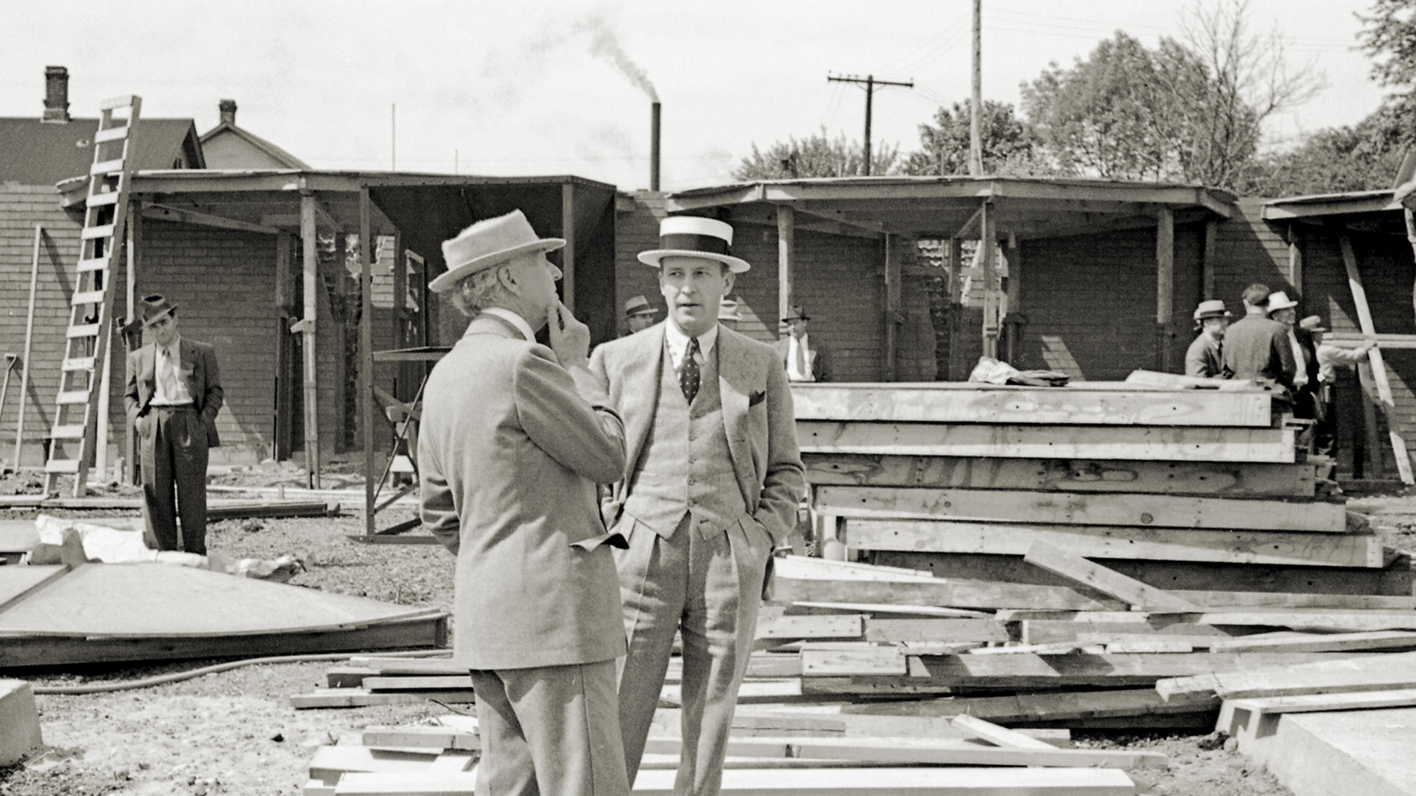 H.F. Johnson Jr. e Frank Lloyd Wright nella sede centrale di SC Johnson