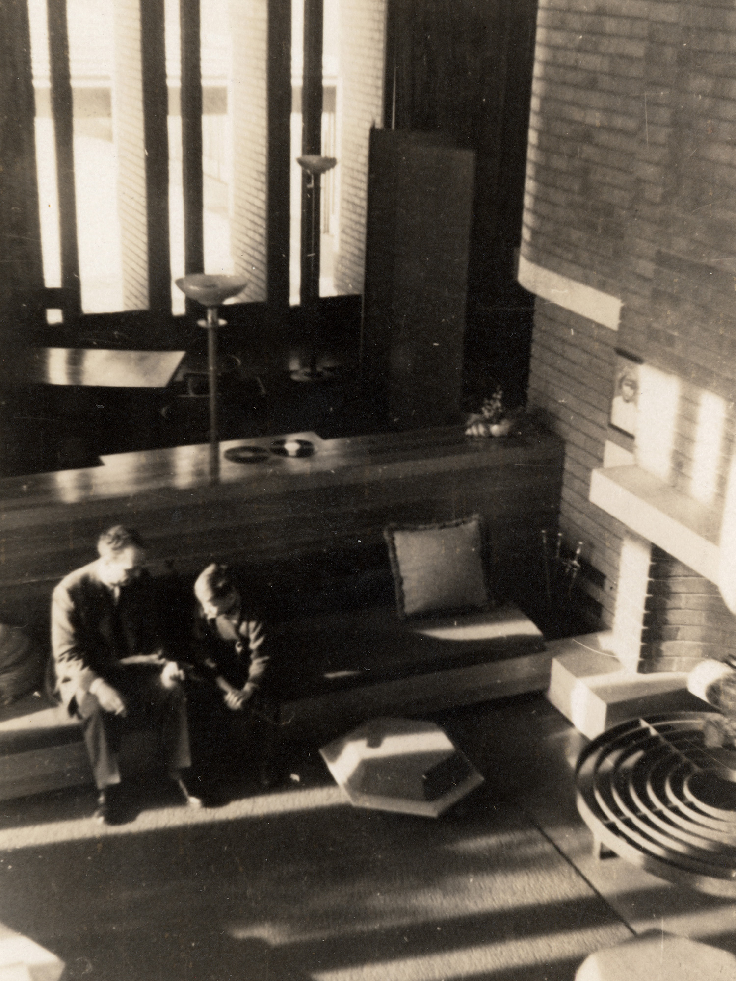 "H.F Johnson Jr. and Frank Lloyd Wright at ""Wingspread"" house"