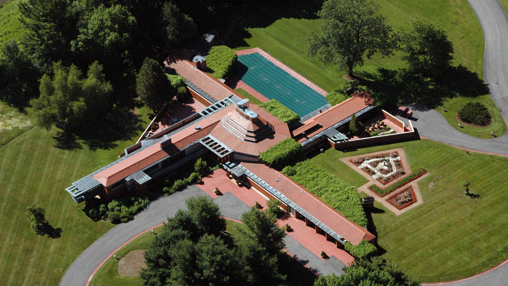 "Aerial view of Frank Lloyd Wright house, ""Wingspread"""