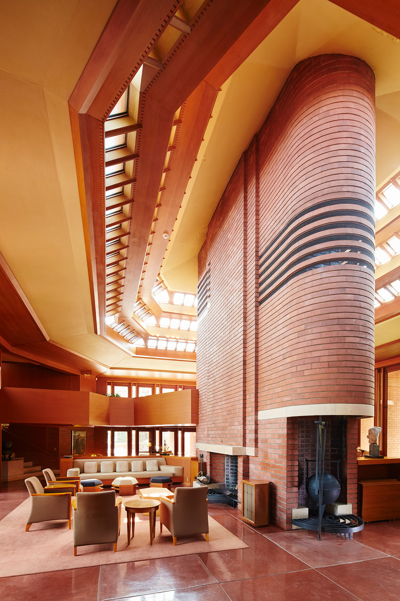 Dans la maison de H.F Johnson Jr, Wingspread, conçue par Frank Lloyd Wright