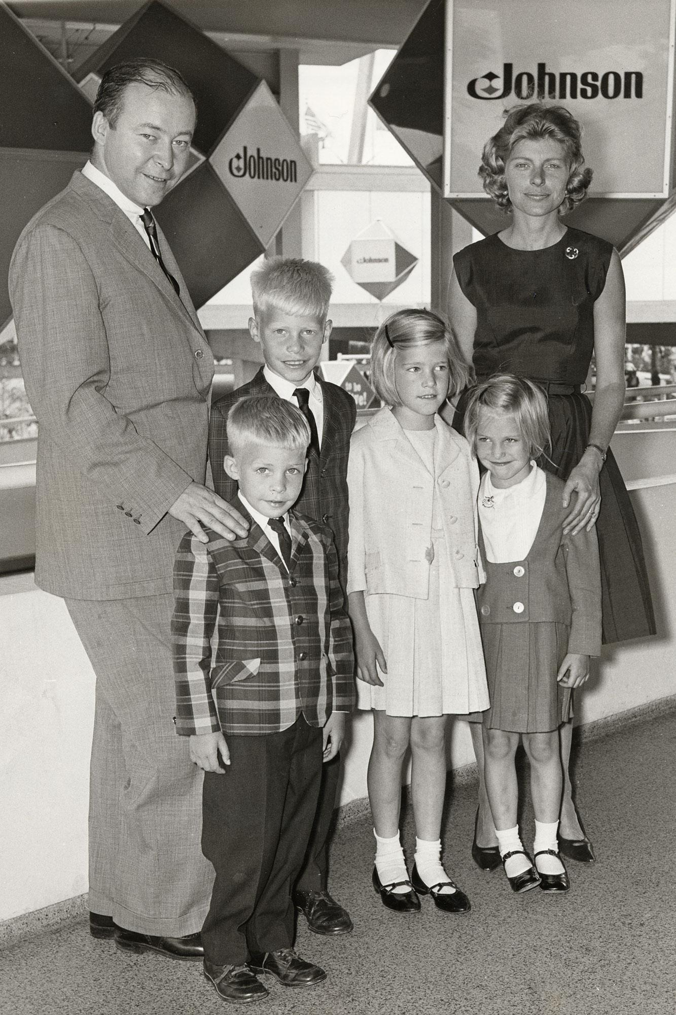 Imogene Johnson with Samuel C Johnson and children at the 1964 World's Fair