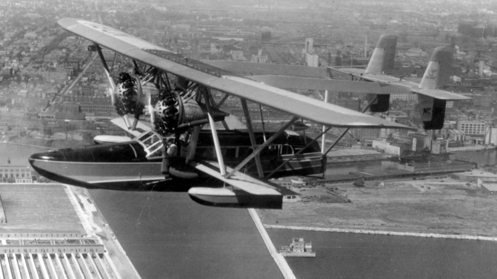 Herbert Johnson, Jr.'s Carnauba amphibious plane on flight to Brazil