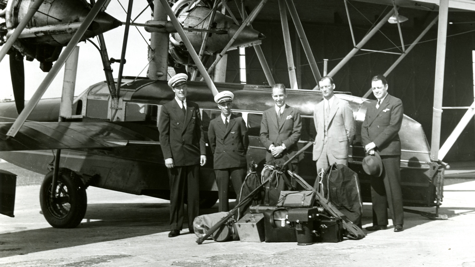 HF Johnson Jr and flight crew of the Carnauba Sikorsky S-38 amphibian airplane.