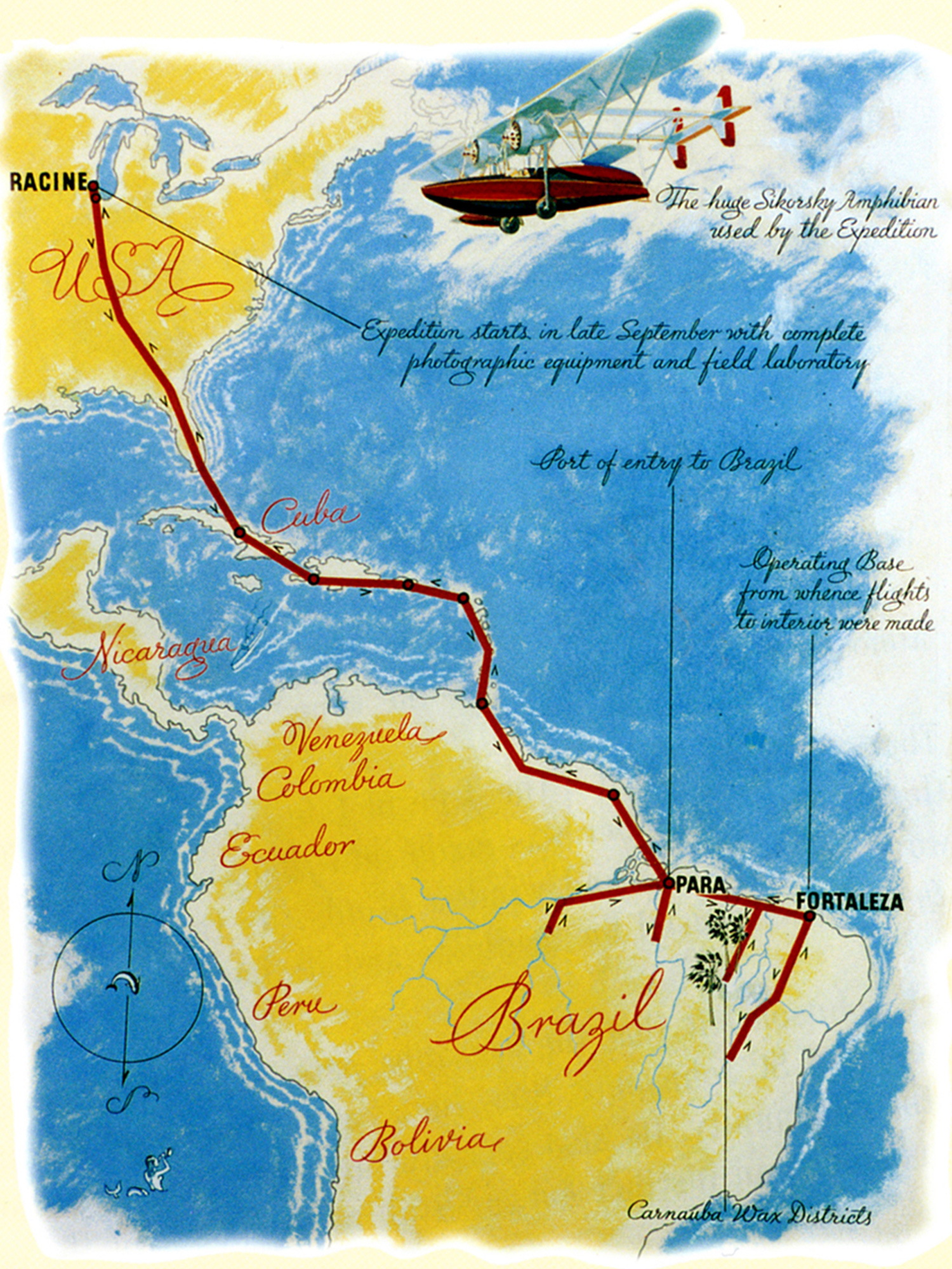 H.F. Johnson Jr.'s 1935 flight path to source carnauba palm wax in Brazil.