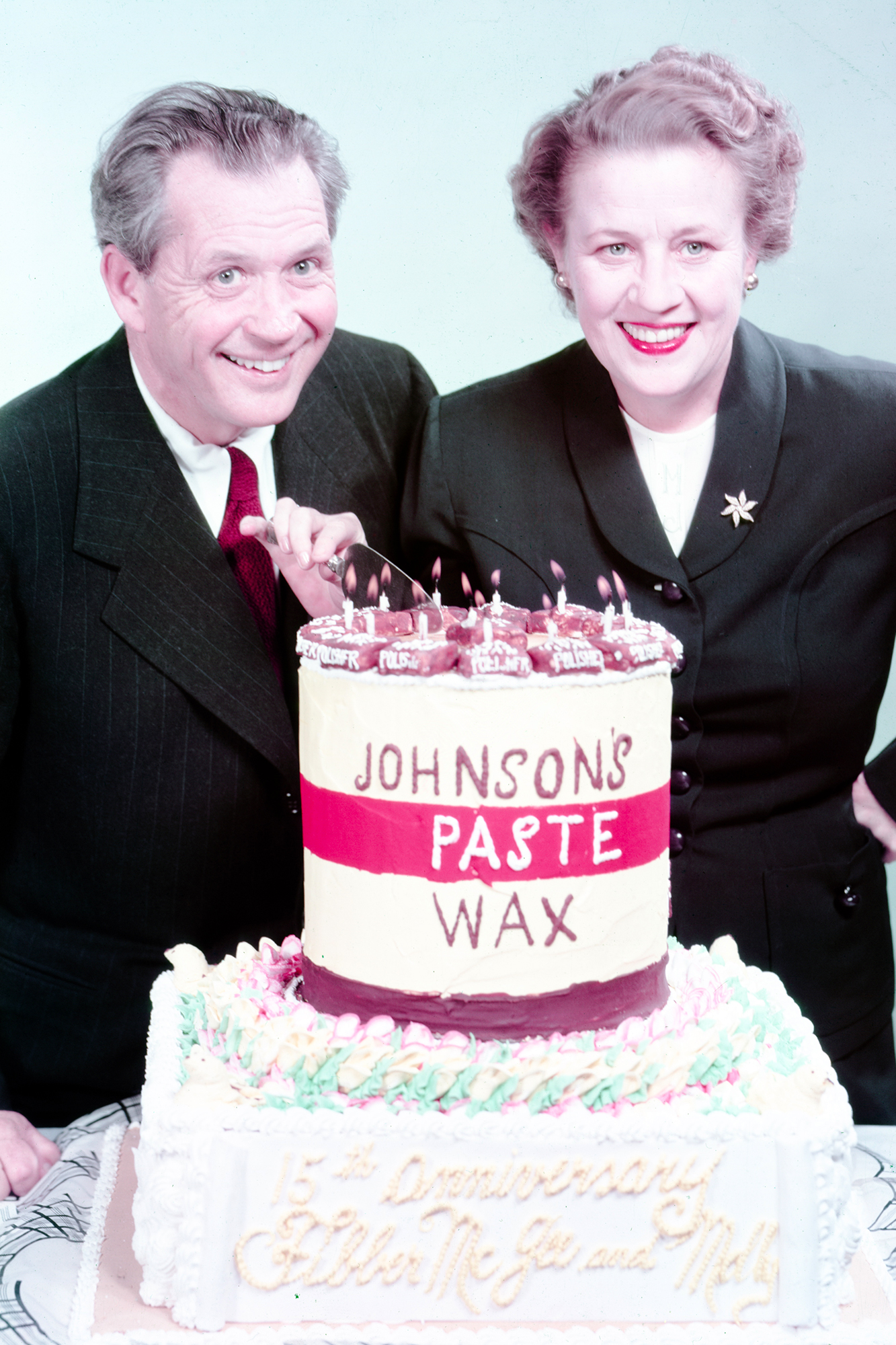 Fibber McGee and Molly McGee celebrate the classic radio show's 15th anniversary with Johnson Paste Wax