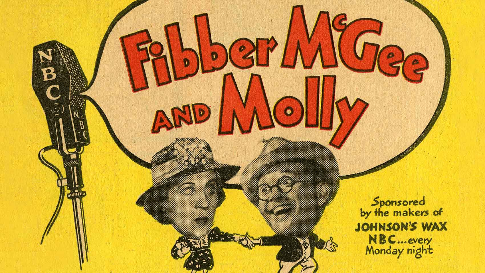 "De radioadvertentie in de komedieklassieker ""Fibber McGee and Molly""."