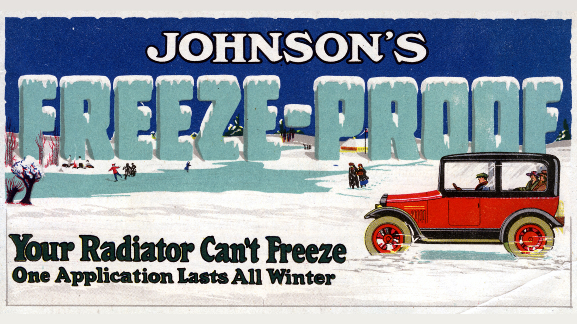 Vintage-advertentie uit 1918 voor Johnson's Freeze Proof