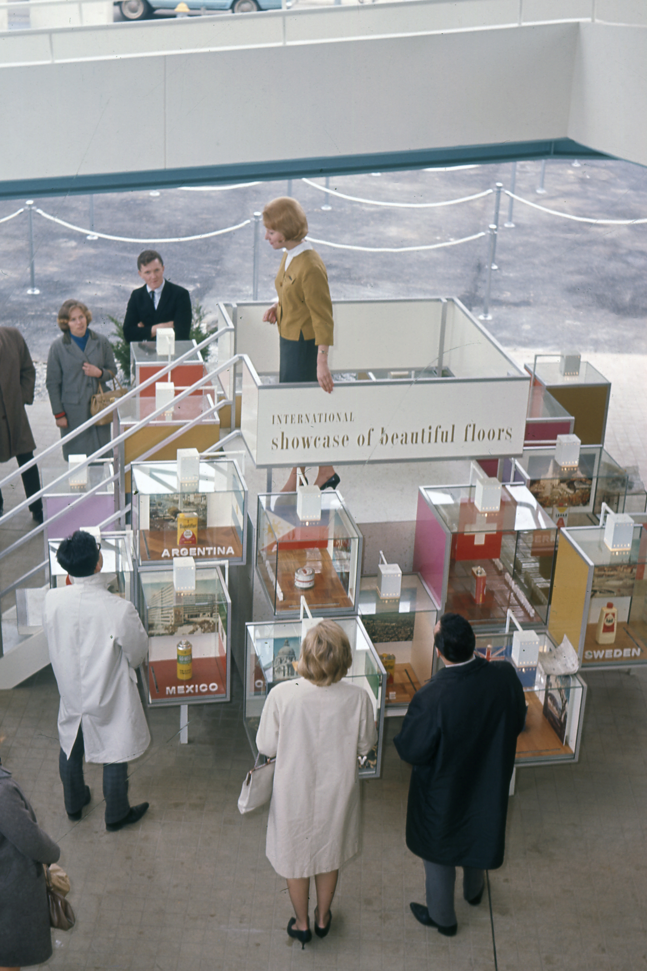 SC Johnson's 1964 World's Fair exhibit showing Johnson Wax products from around the globe