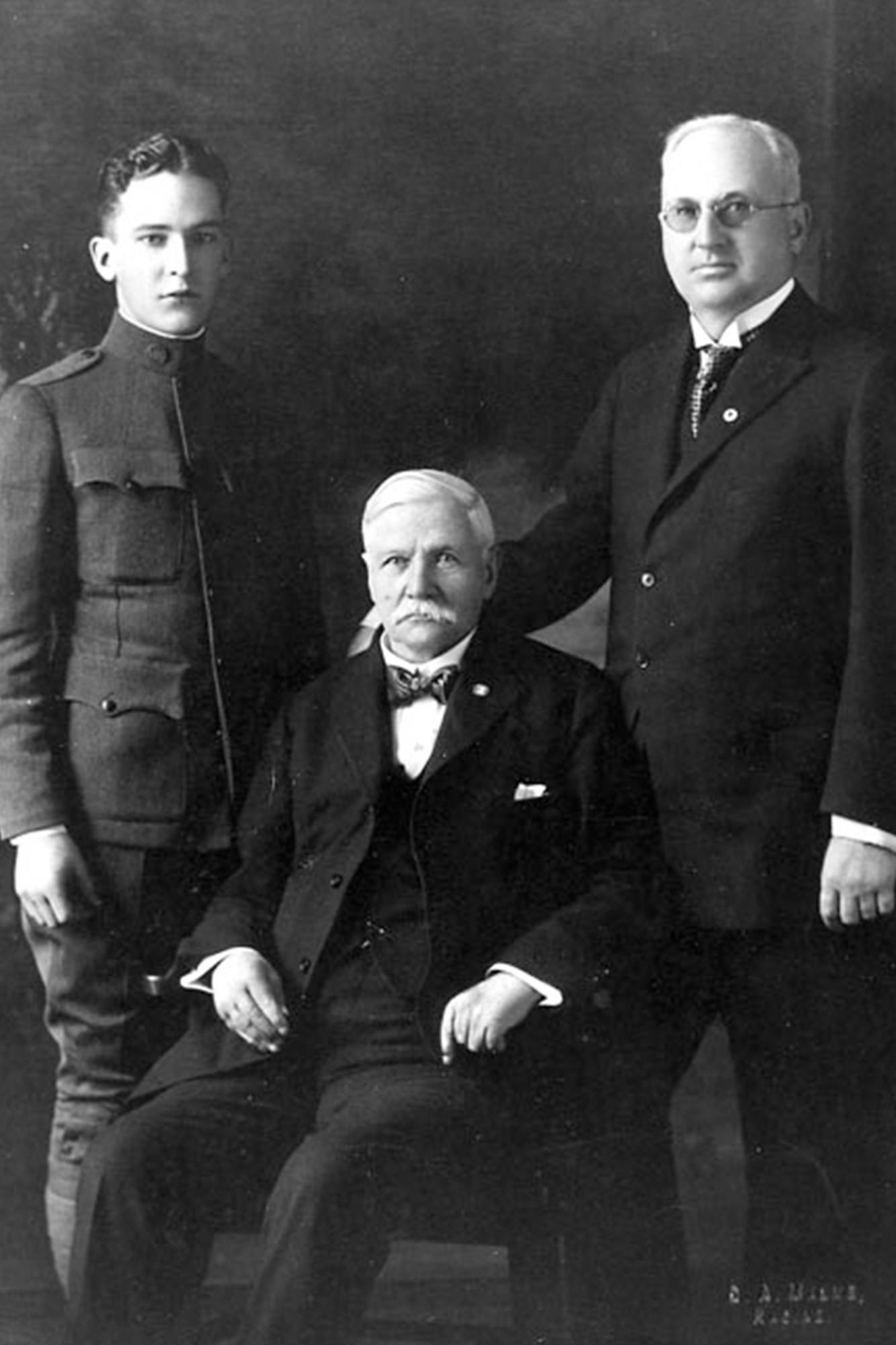 Portrait of Herbert. F. Johnson, Sr. with Samuel Curtis Johnson and Herbert F Johnson, Jr.