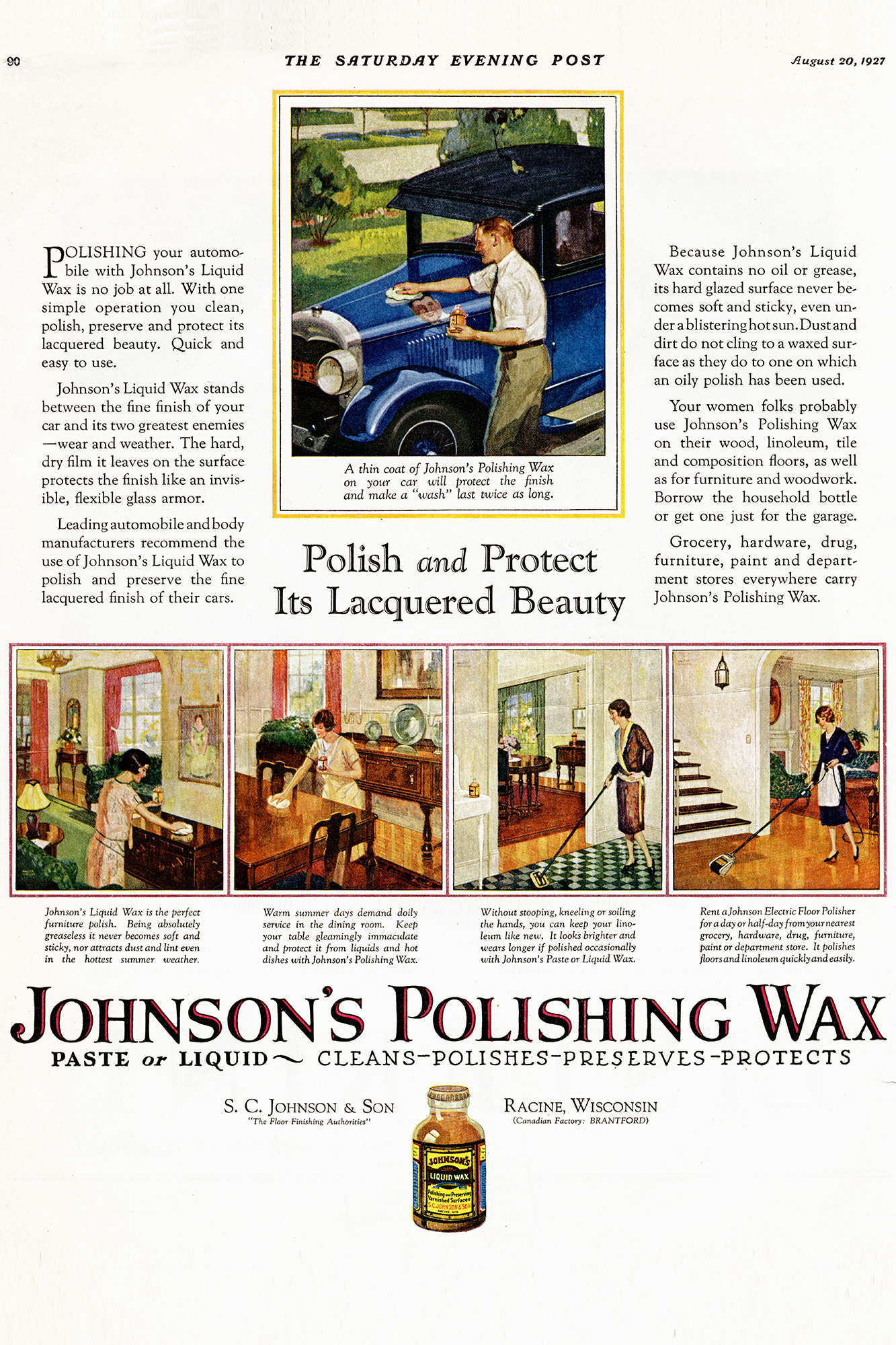 Anuncio publicitario de la cera Johnson en el Saturday Evening Post, 1927