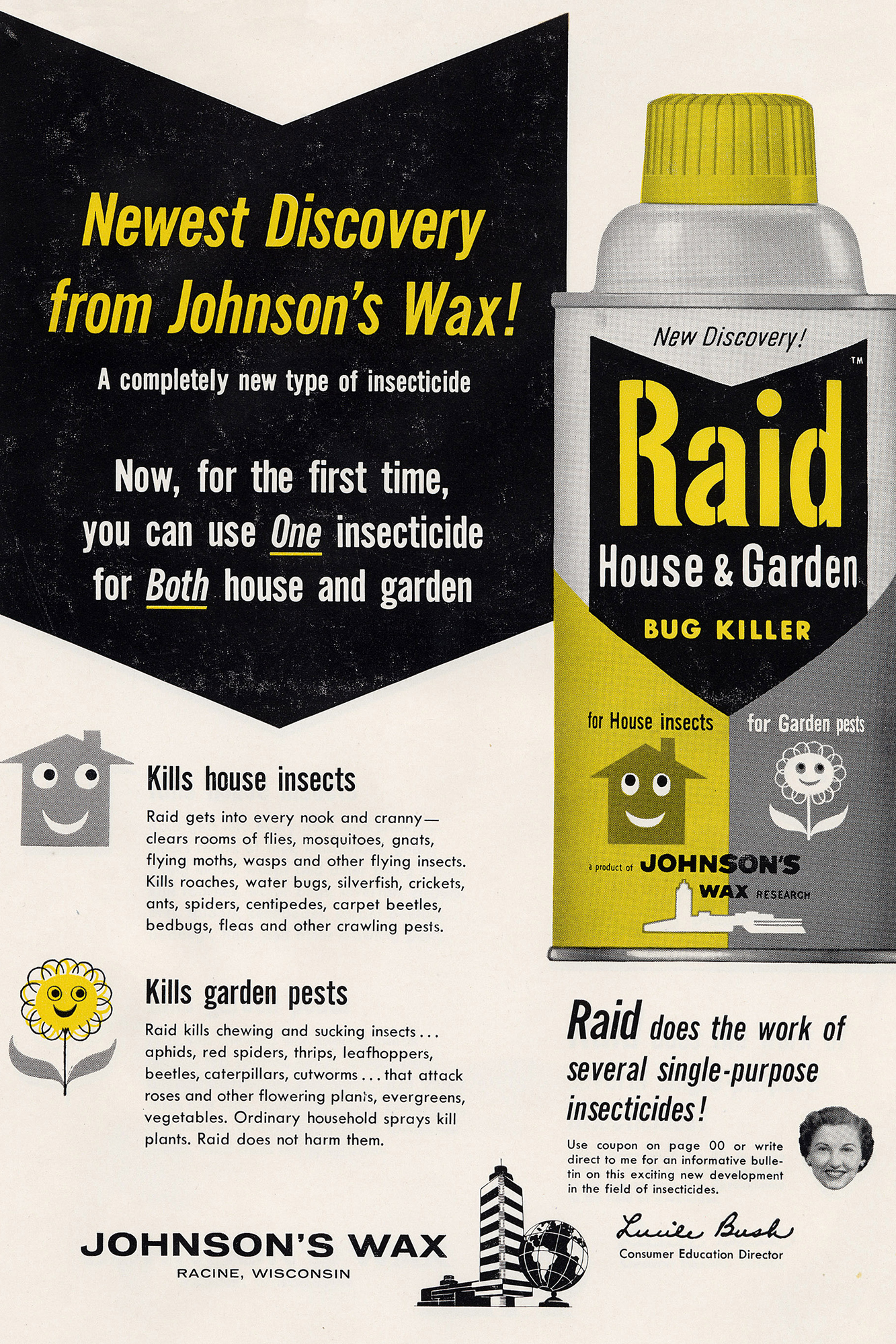 Anuncio antiguo de Johnson's Wax de 1955 para el spray contra insectos Raid